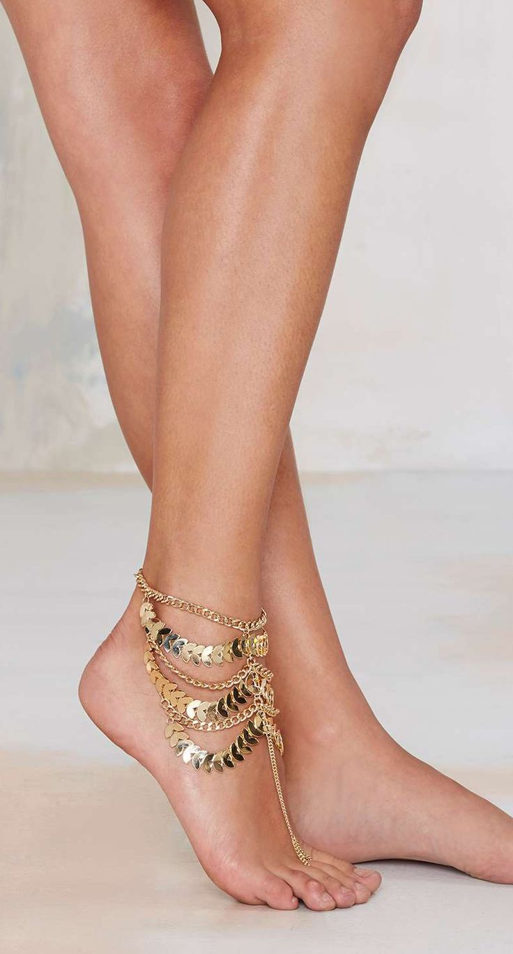 Gold coin ankle chain