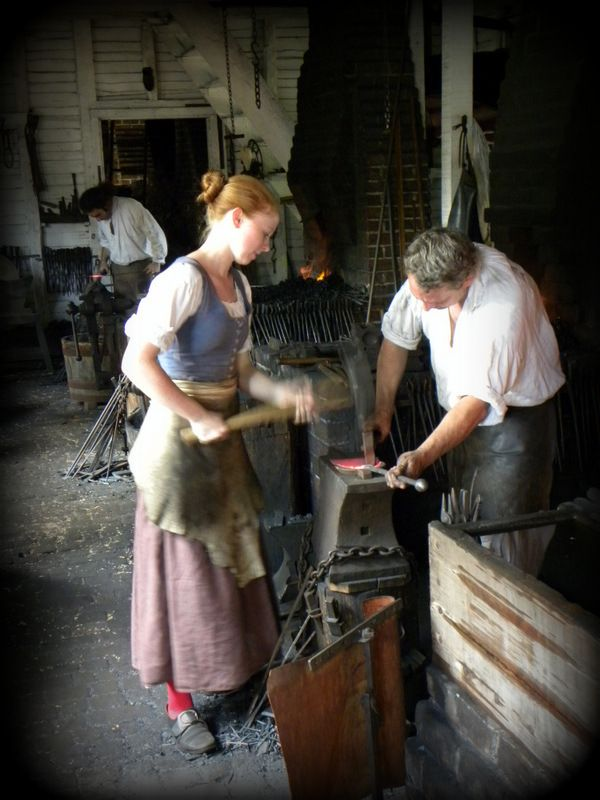 Reenacters At James Anderson S Smithy In Colonial
