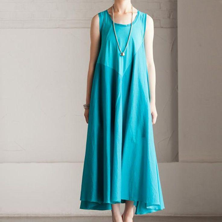 Summer Cotton Patchwork Dress Maxi Loose Long Dress Sleeveless Clothes Women's Dress