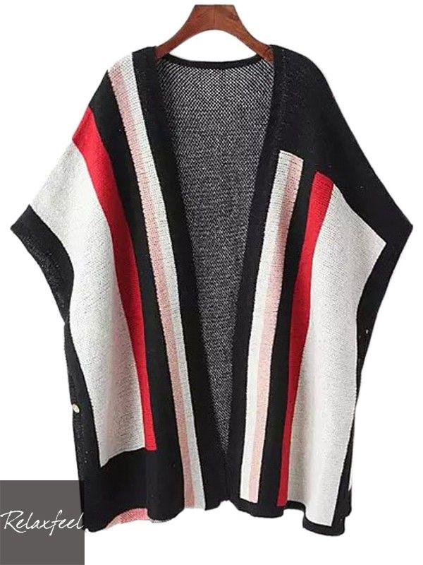 Relaxfeel Women's Striped Loose Knit Mantle Cardigan - New In