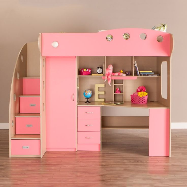pink white loft beds for stairs | NIKA Loft Bed (Maple, Pink) in 2019 | Closet bedroom ...
