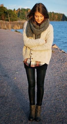 Amazing Outfit with Cozy and Bg Sweater ,Woolen Scarf,Black Tights and Leather Boots