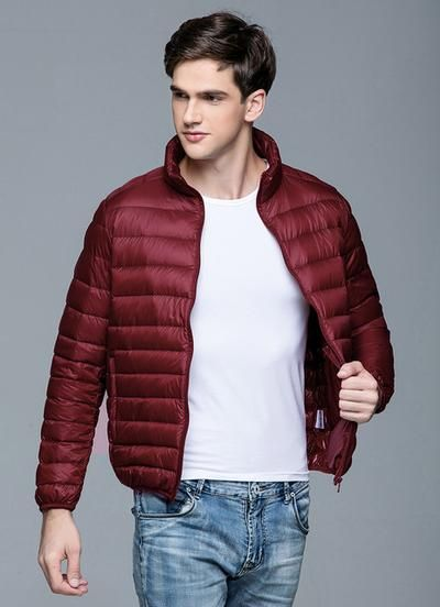 1ffa27242d5 New Autumn Winter Man Duck Down Jacket Ultra Light Thin Plus Size Spring  Jackets Men Stand Collar Outerwear Coat