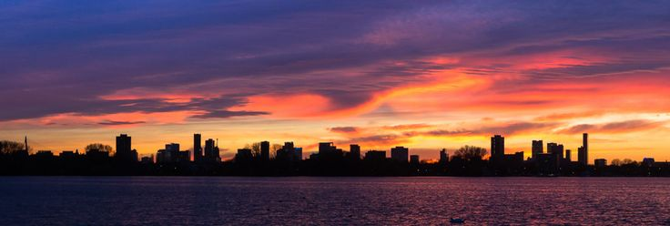 Panorama Skyline Rotterdam zonsondergang