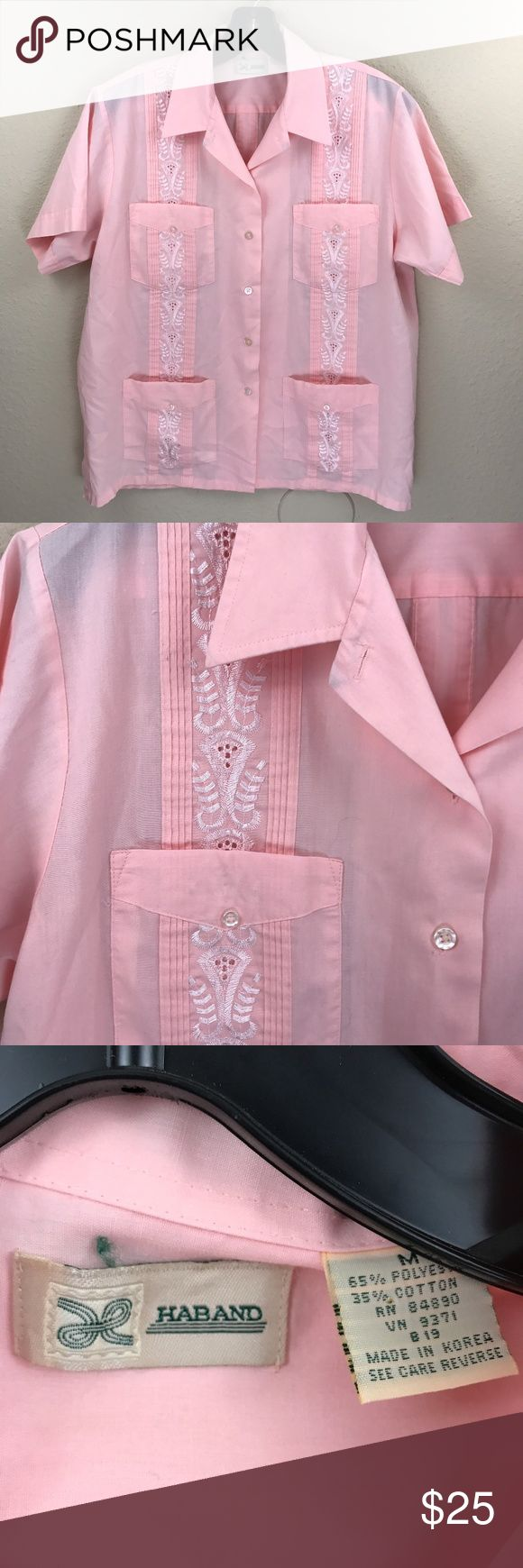 Haband Pink Guayabera Size M In great condition! Perfect for enjoying the rest of your summer adventures. Great for a beach wedding, traveling, or staying cool while looking good! Vintage Shirts Casual Button Down Shirts
