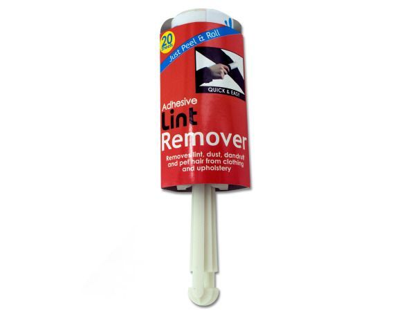 """Adhesive Lint Remover, 72 - Perfect for picking up lint, pet hair, dandruff, dust and dirt from clothing, upholstery and most surfaces, this Adhesive Lint Remover is easy to use and comes with 20 sheets. Directions for use are labeled on packaging. Brush measures approximately 8 1/16"""" in length with a 1 5/8"""" diameter. Comes packaged in a wrap around.-Colors: white. Material: plastic,paper,adhesive. Weight: 0.1982/unit"""