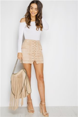 Miranda Stone Lace Up Suede Mini Skirt