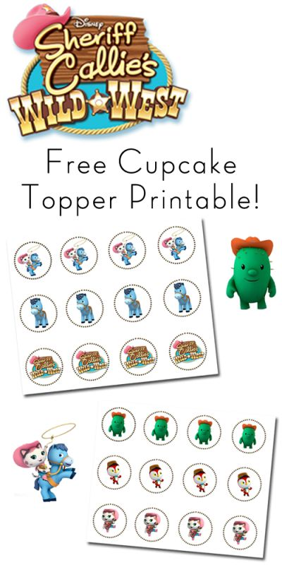 Free Printable: Sheriff Callie Cupcake Toppers