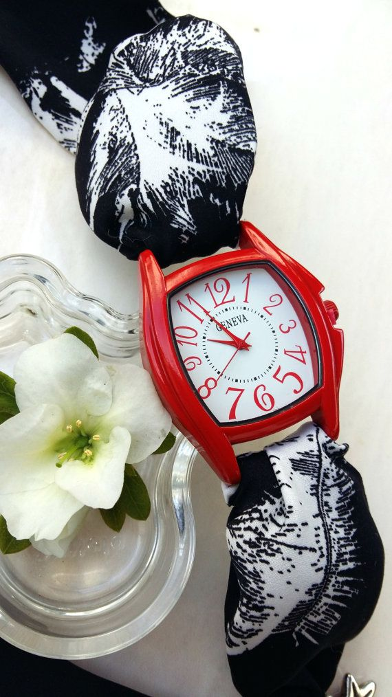 Womens Red Square Face Bracelet Watch  Black by HARMONYHOURWATCHES