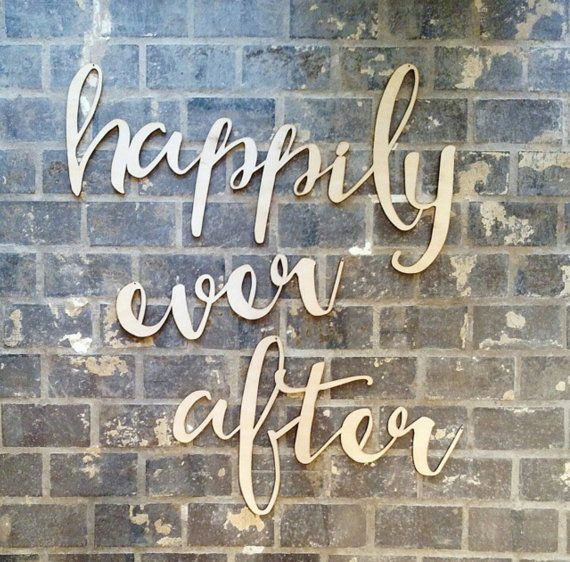 Hily Ever After Wedding Party Decor Calligraphy Hanging Sign