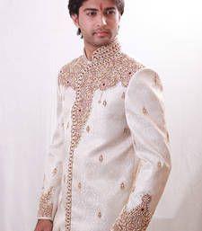 Buy off white zari brocade sherwani rajasthani-sherwani online