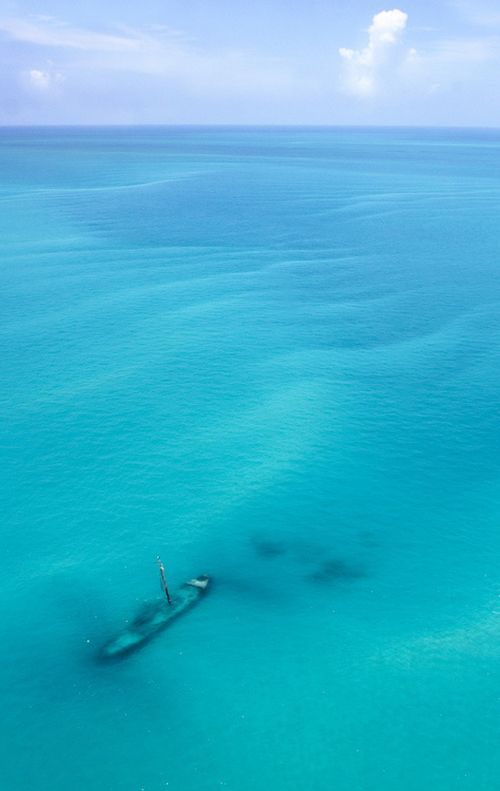 Shipwreck near the Dry Tortugas National Park - 70 miles west of Key West