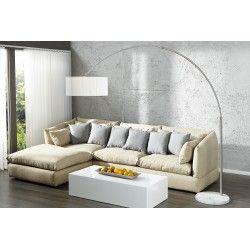 Lampadaire extensible design arc coloris blanc