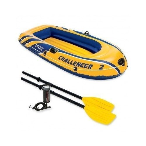 Dingy Canoe Kayak Intex Challenger 2 Inflatable Raft Air Fishing Boat  Oar Pump