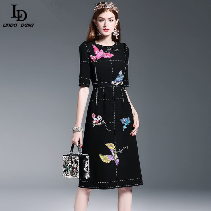 Women's Half Sleeve Luxury Birds Beading Sequin Black Knee Length Dress