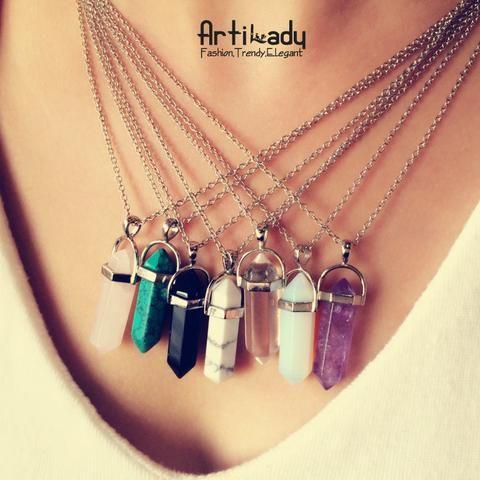 Multi Color Quartz Pendant with Chain Necklace