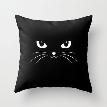 Cute Black Cat Throw Pillow by badbugs_art