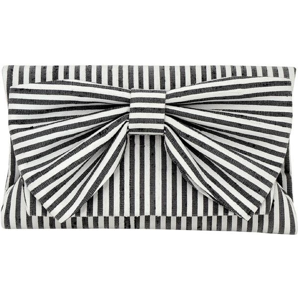 Inge Christopher Didi Fold Over Clutch (2.236.080 IDR) ❤ liked on Polyvore featuring bags, handbags, clutches, purses, black white, black and white stripe purse, fold over handbag, hand bags, fold over purse and kisslock handbags