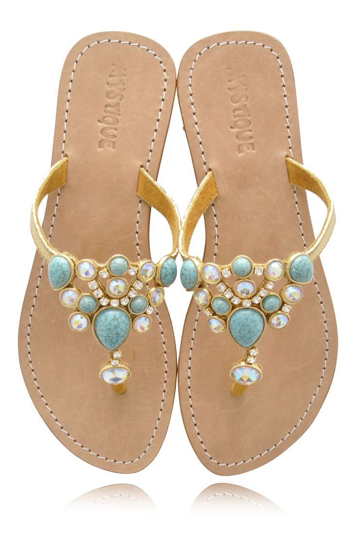 Mystique Sandals | MYSTIQUE Turquoise Jeweled Sandals - SHOES | SANDALS | PRET-A-BEAUTE ...