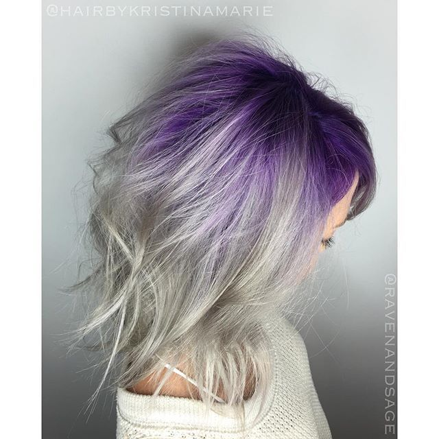 S P A C E_I N V A D E R  first retouched her roots then I used #kenra  Demi 10sm+8vm for the silver & created a custom purple for the #meltedroot  #modernsalon #sdhairstylist @ravenandsage