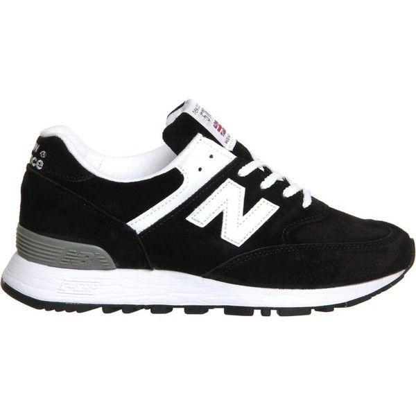 NEW BALANCE 576 suede trainers ($155) ❤ liked on Polyvore featuring shoes, sneakers, black white, lace up shoes, lace up sneakers, laced shoes, suede shoes and suede sneakers