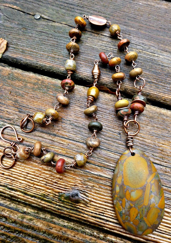 Best 300 handmade necklace inspiration images on pinterest published in bead trends april 2013 magazine jasper chrysanthemum stone copper necklace aloadofball Images