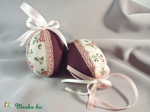 Textil húsvéti tojás - vintage, Dekoráció, Húsvéti apróságok, Foltberakás, Meska
