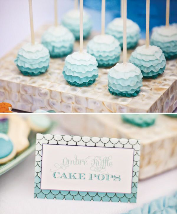 ombre mermaid party by Paiges of Style...ruffle cake pops!