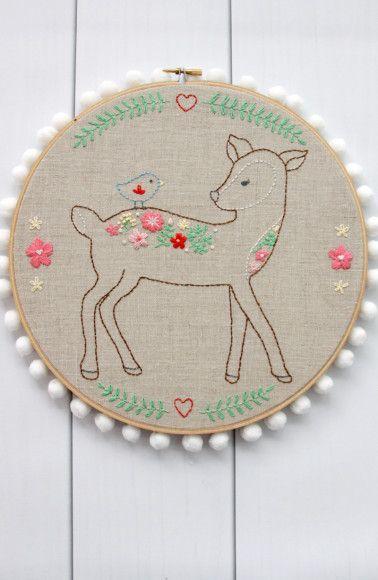 Free Floral Deer Embroidery