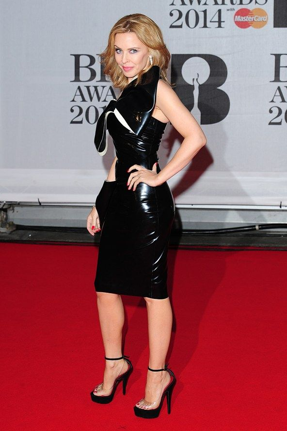 BRITs 2014: Kylie Minogue wore a leather dress by William Wilde.