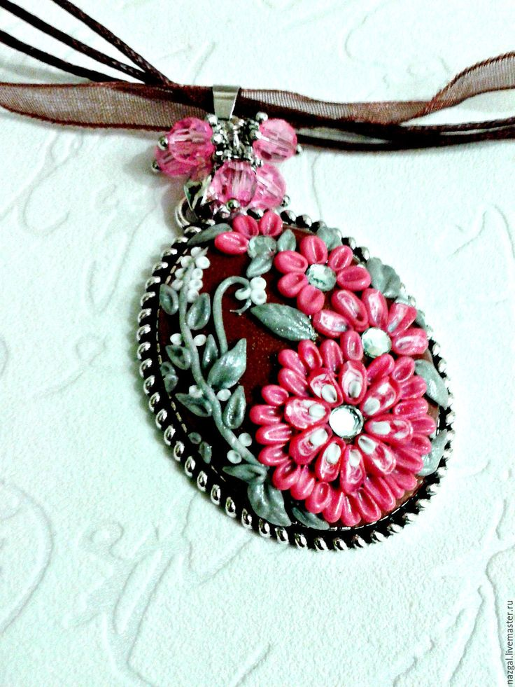 Купить Кулон и серьги из полимерной глины - розовый, полимерная глина, Лепка, филигрань, цветочная композиция