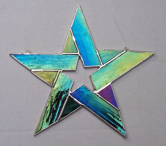 Stained Glass 5 Point Star Star Within A by Suncatchercreations