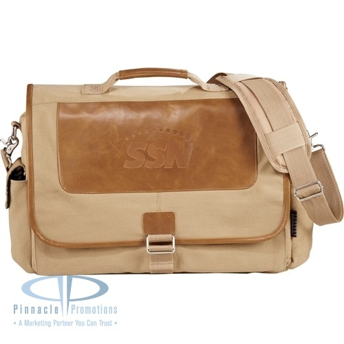 Field & Co. Cambridge Collection Compu-Messenger de-bossed with your logo - features plaid lining inside #americanclassic