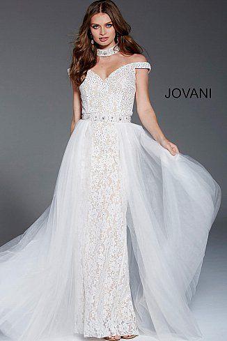 00d51d37da4d Ivory Lace Off the Shoulder Wedding Gown 58317 #Jovani #WeddingDress  #BridalGown #Bride #Collection2018
