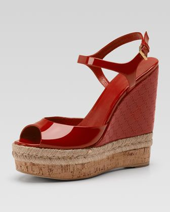Holli Patent GG Wedge Espadrille, Red by Gucci at Neiman Marcus.