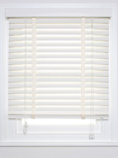 Wood Venetian Blind - classic wood blind with lots of options for controlling the light; lovely chalk colour; perfect for living room
