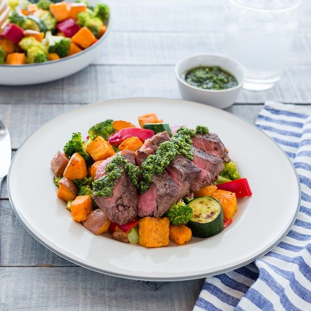 BEEF SIRLOIN WITH ROAST VEGETABLE SALAD AND PESTO