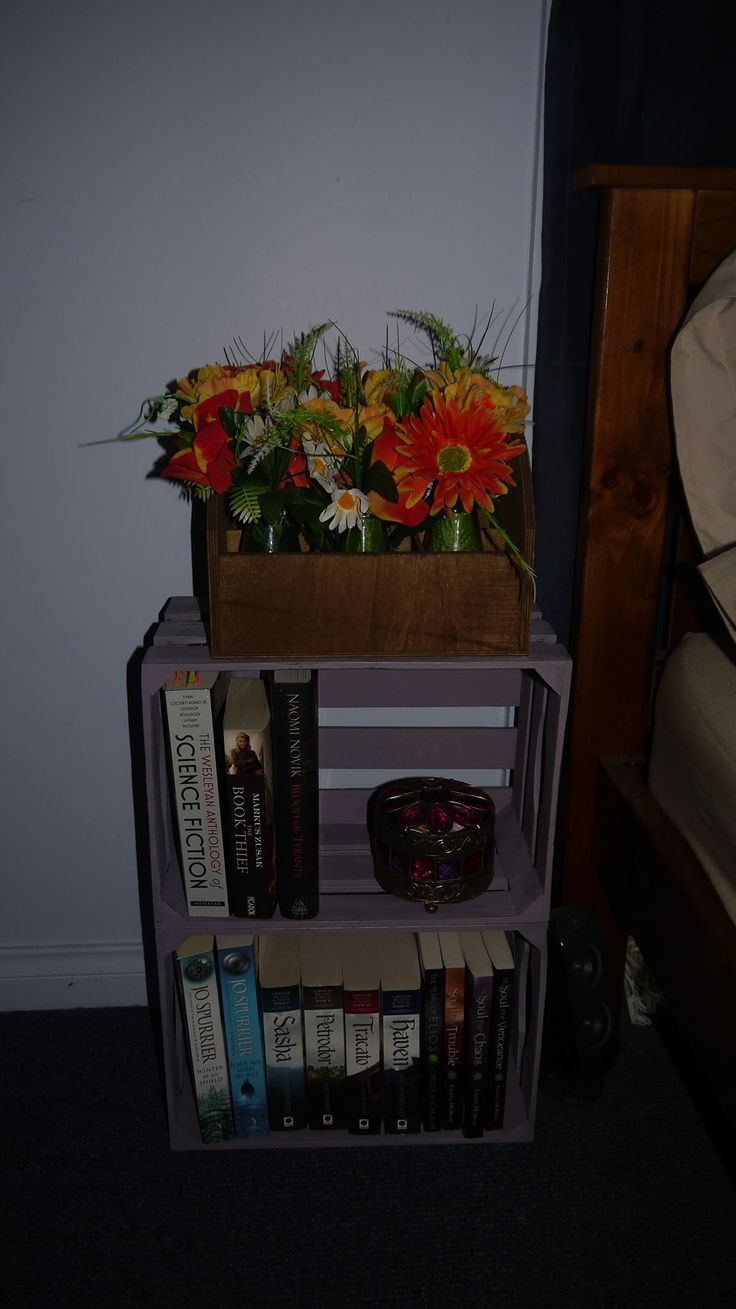 My finished masterpiece with Emile coloured Chalk Paint using some wooden crates to make a book case/ bedside table.