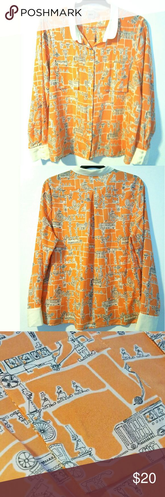 """ASOS 12 Orange Cartoon Print French Cuff Shirt This ASOS 12 Orange Cartoon Print French Cuff Shirt is in great used condition. Bust measures 23.5"""" across laying flat, measured from pit to pit, so 47"""" around. No stretch. 100% polyester. Comes with extra buttons attached to fabric tag. 26"""" long. ::: Bundle and save! ::: No trades. ASOS Tops Button Down Shirts"""