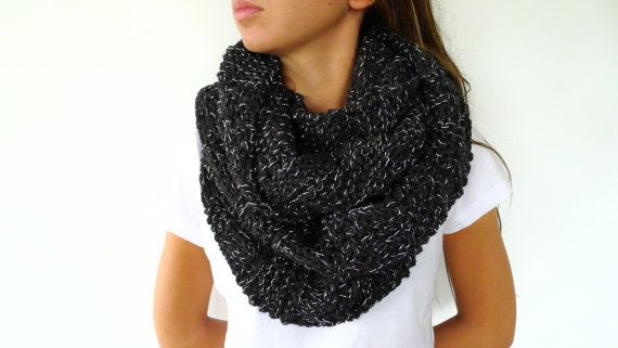 Womens knit cowl in black. Chunky knit scarf. Soft by KEENbyAM