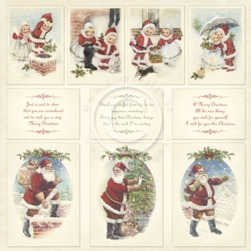 """PION DESIGN - CHRISTMAS IN NORWAY PD6411F - IMAGES TOSIDIG MØNSTERARK i serien """"WINTERTIME IN SWEDISH LAPLAND"""" en kolleksjon fra PION DESIGN.Arket måler ca 30,5cm x 30,5cm. Christmas in Norway - a collection in a Christmas theme - Double sided papers - Paper size 12x12"""""""
