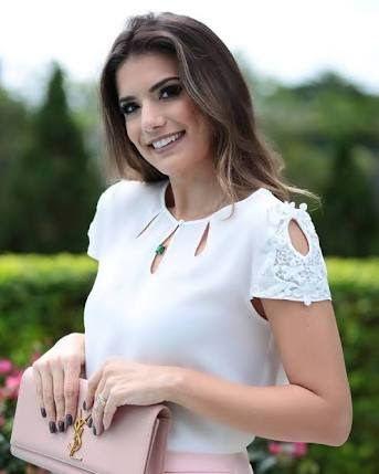 Image result for blusa de crepe branca com manga