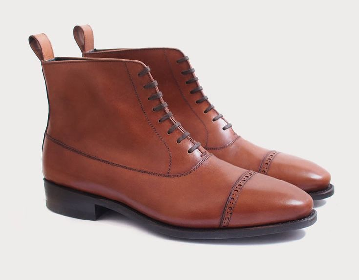 Handmade Mens Tan brown cap toe leather ankle boots, Ankle boots for mens - Boots