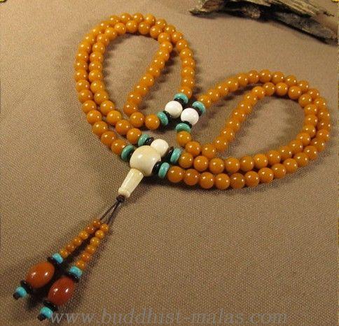 Handmade Tibetan Blessed 8MM Mila Amber Mala 108 prayer beads
