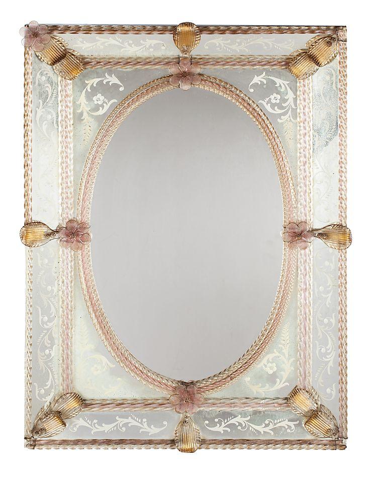 Espejo veneciano con marco de espejos grabados y vidrio de for Espejos finos decorativos