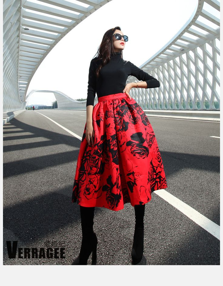 Verragee Women Long Print Skirts Pleated Pockets Knee Length Print Plus Size Floral Red White Autumn Spring Winter 30B38 - STYLANDO