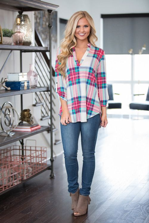 I'd Follow You In A Heartbeat Plaid Tunic - The Pink Lily