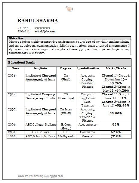 curriculum vitae samples resume for fresher chartered