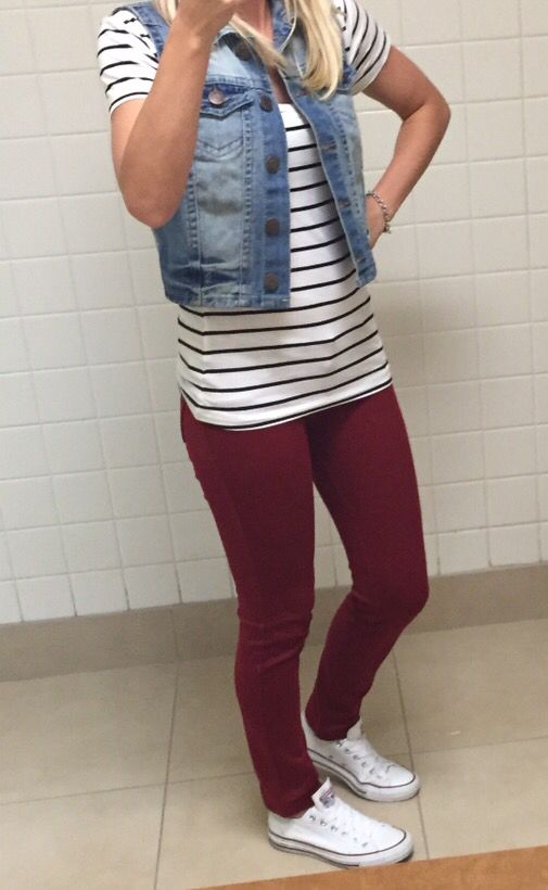 My casual Friday work outfit (perfect for fall.) *Converse, striped t-shirt, denim vest & maroon jeggings* :)