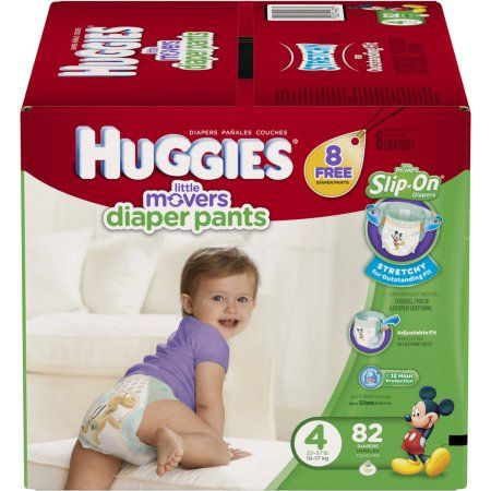Huggies Little Movers Slip-On Diaper Pants, Size 4 (Choose Diaper Count)